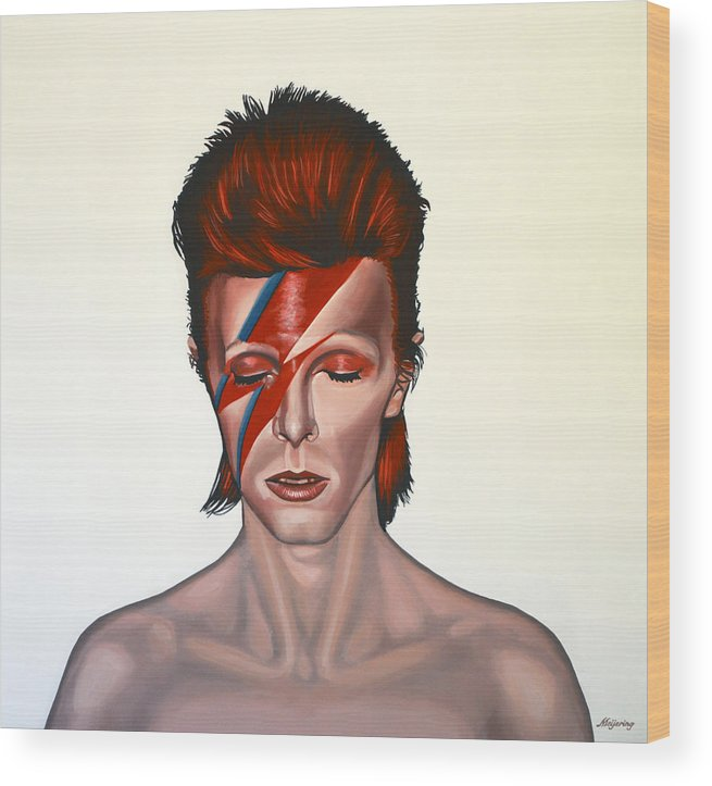 David Bowie Wood Print featuring the painting David Bowie Aladdin Sane by Paul Meijering