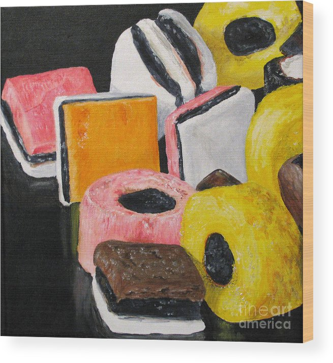 Still Life Wood Print featuring the painting Licorice Candy by Nancie Johnson