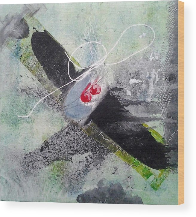 Plane Wood Print featuring the painting Spirit Spiral by Lesley Fletcher