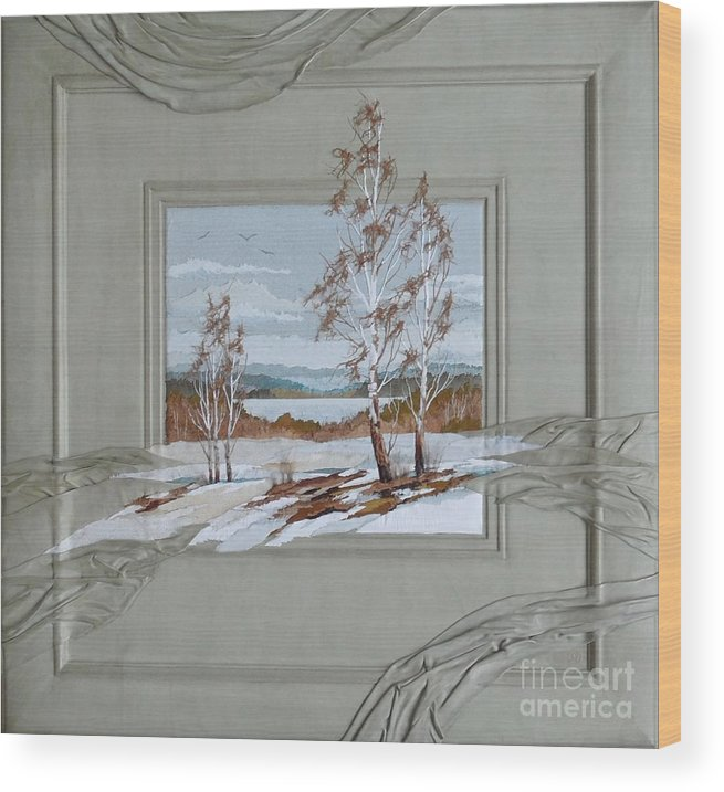 Landscape Wood Print featuring the painting Thawed Patch by Yakubouskaya Olga