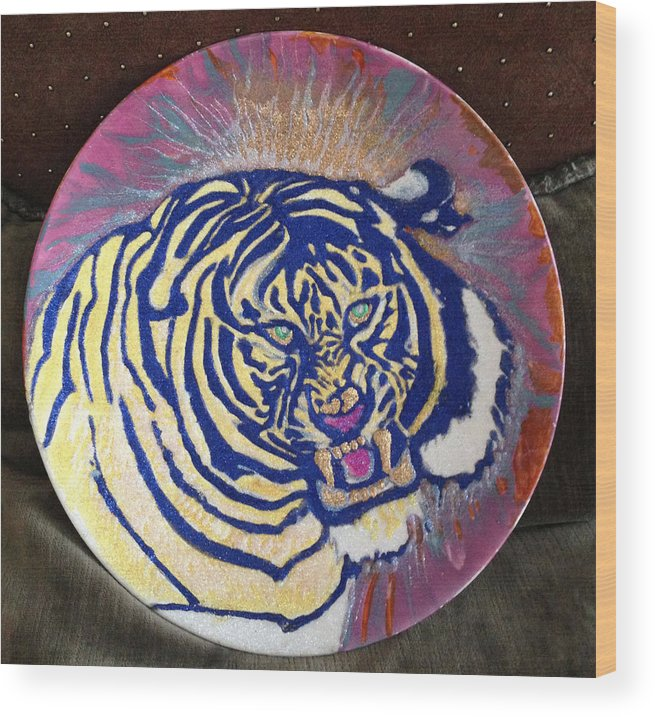 Wild Life Wood Print featuring the painting Tiger by Sima Amid Wewetzer