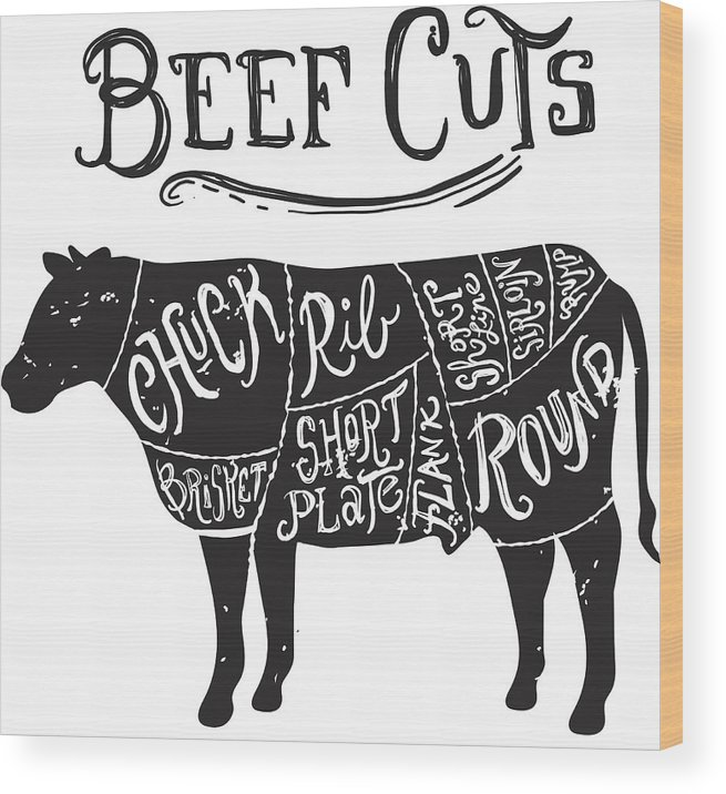 butcher's shop wood print featuring the drawing vintage beef cuts butcher  diagram by jdawnink