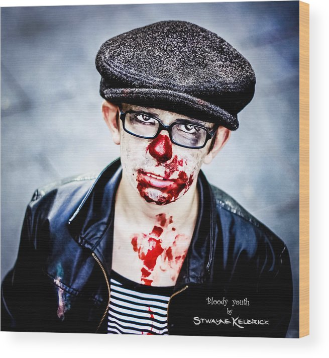 Portraits Wood Print featuring the photograph Bloody Youth by Stwayne Keubrick
