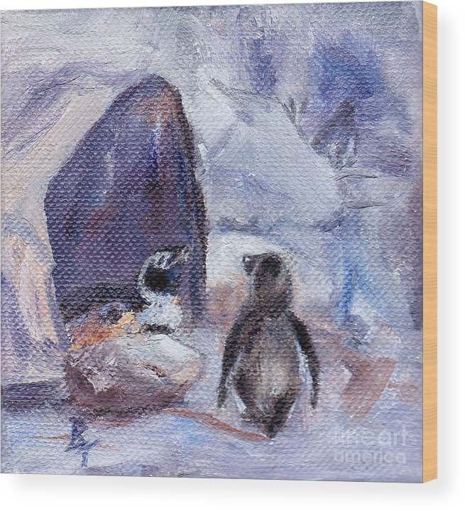 Penguins Wood Print featuring the painting Nesting Penguins by Brenda Thour