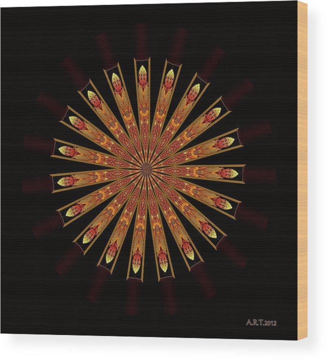 Mandala Wood Print featuring the digital art Ten After 42 by Arthur Thompson