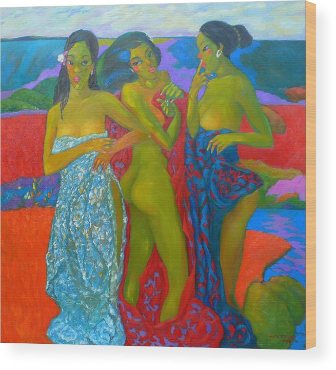 Women And Beauty Wood Print featuring the painting Bathing5 by Tung Nguyen Hoang