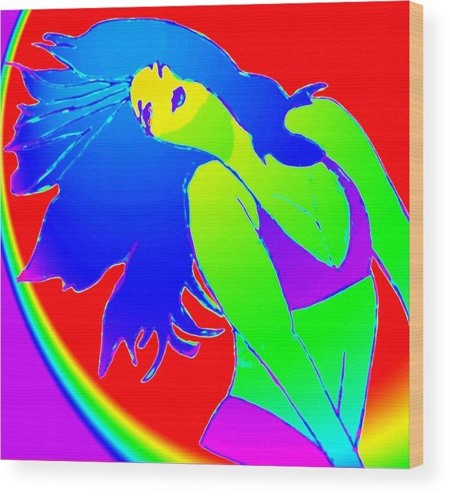 Woman Wood Print featuring the drawing Beauty If A Rainbow by Jennifer Ott