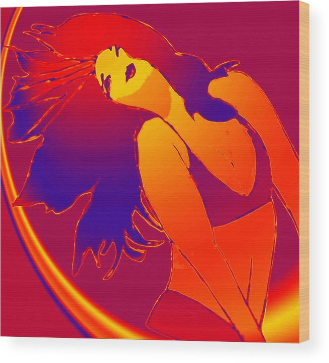 Woman Wood Print featuring the drawing Beauty Is A Rainbow Red by Jennifer Ott