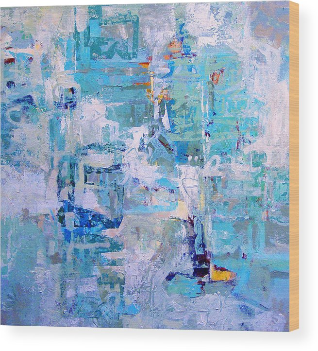 Abstract Wood Print featuring the painting Blue Beacon by Dale Witherow