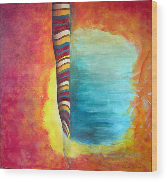 Abstract Wood Print featuring the painting Cafe by Muriel Dolemieux