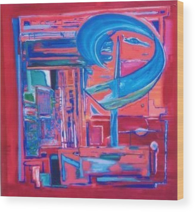 Red Wood Print featuring the painting Composicion Azul by Michael Puya