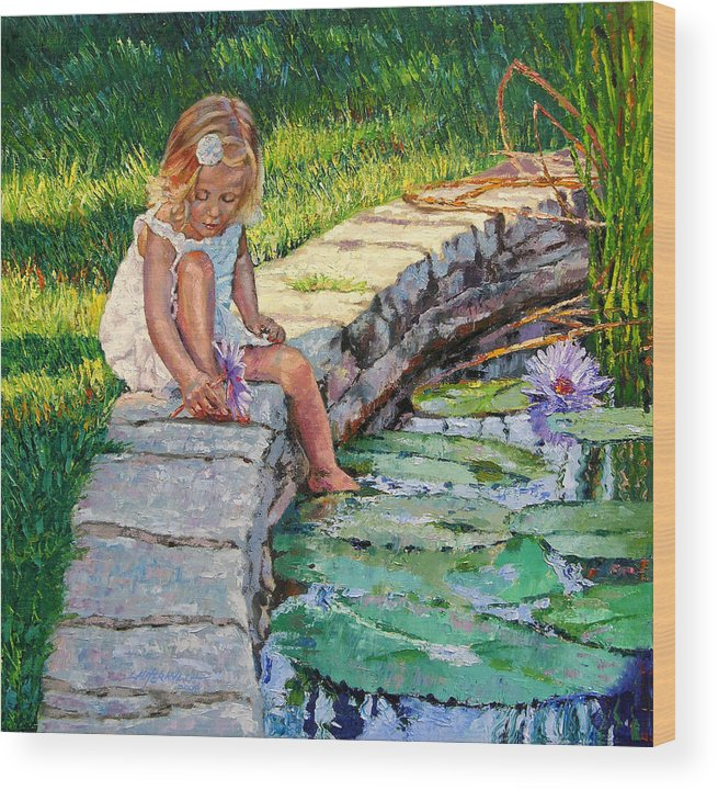 Small Girl Wood Print featuring the painting Enjoying Yesterdays Sunlight by John Lautermilch