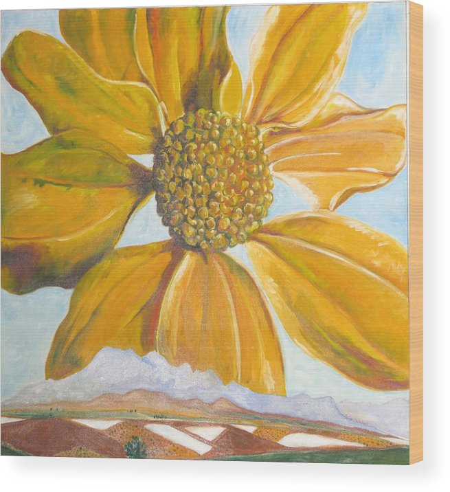 Landscape Wood Print featuring the painting Fields On A Flowery Morning by Kathy Mitchell