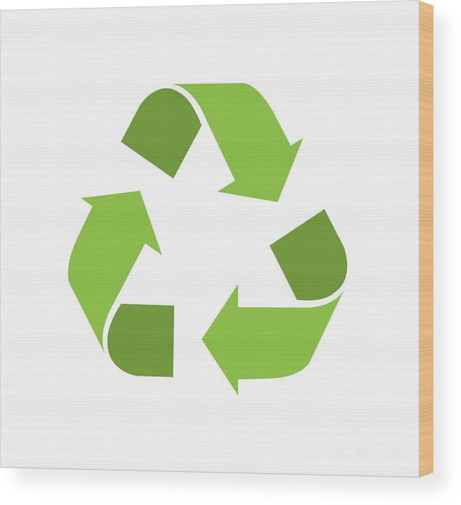 Green Reduce Reuse Recycle Repurpose Mother Earth Wood Print By