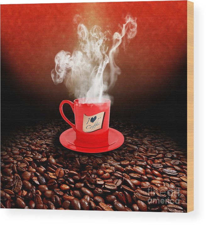 Coffee Wood Print featuring the photograph I Love Coffee by Stefano Senise