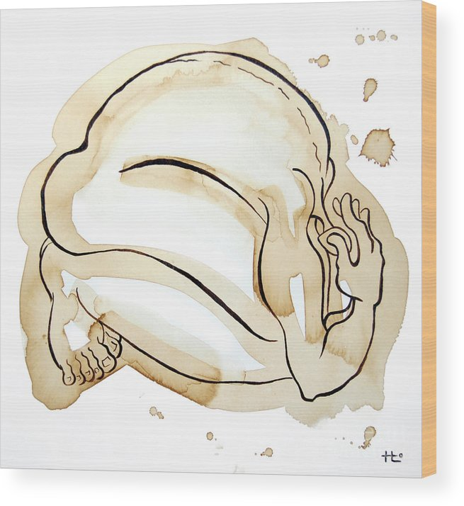 Body Wood Print featuring the painting Man 11 From When The Body Talks by Son Of the Moon