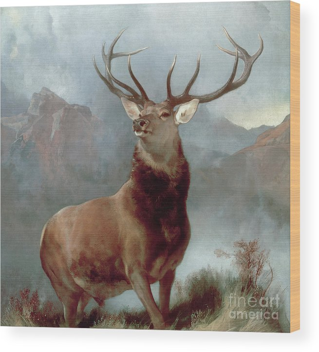 Monarch Wood Print featuring the painting Monarch Of The Glen by Sir Edwin Landseer