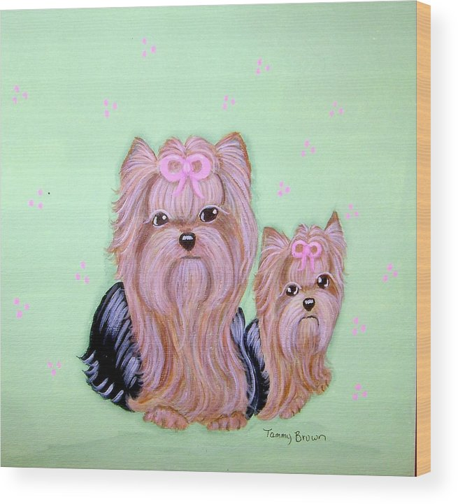 Yorkshire Terrier Wood Print featuring the painting Mother's Love by Tammy Brown