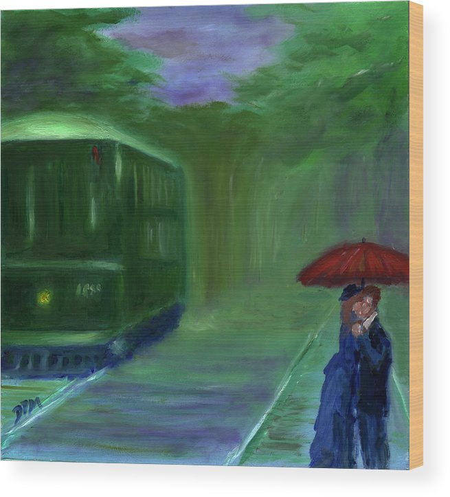 Rail Car Wood Print featuring the painting Orange Umbrella- I by David McGhee