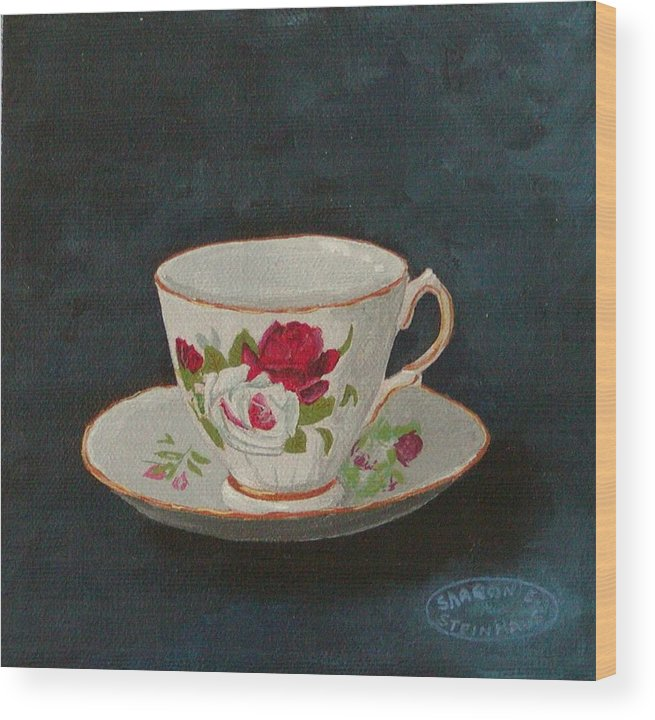 Rose Teacup And Saucer China Original Acrylic Wood Print featuring the painting Rose Teacup by Sharon Steinhaus