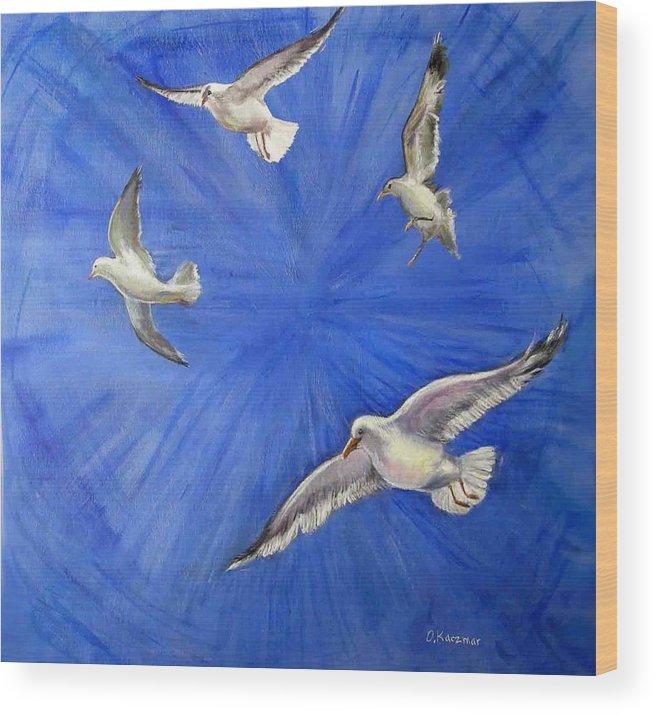 Birds Wood Print featuring the painting Seagulls by Olga Kaczmar