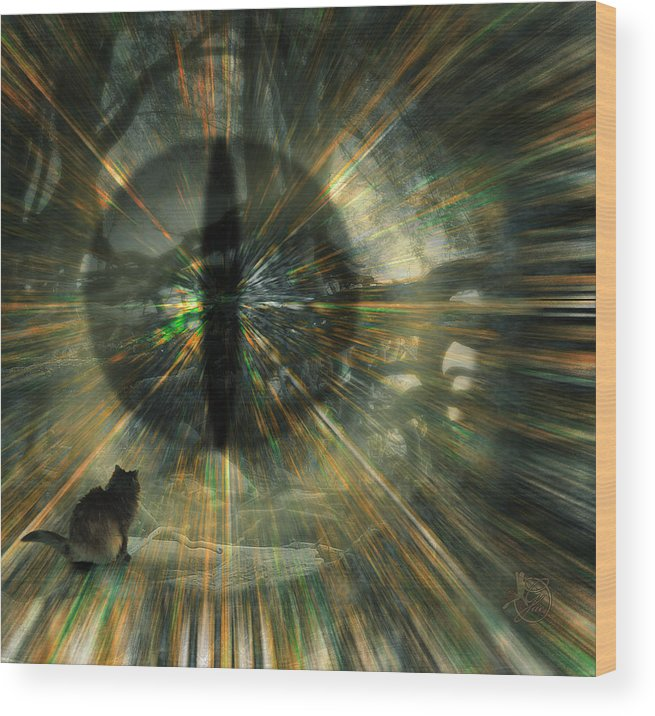 Cat Wood Print featuring the digital art See What I See by Gae Helton