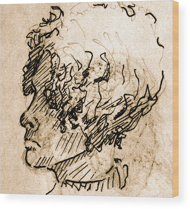 Sketch Wood Print featuring the drawing Sketch Of A Young Woman by Dan Earle