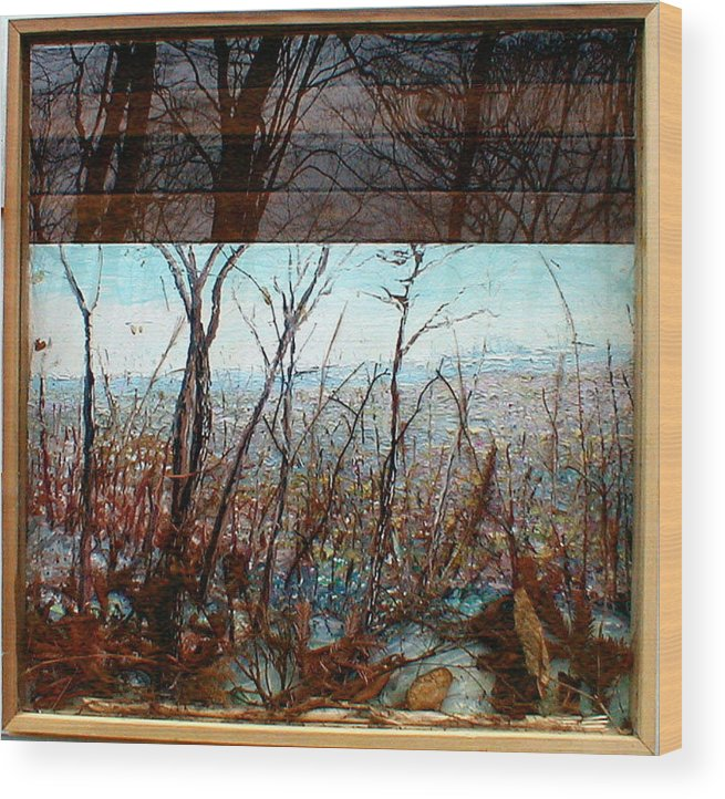 Landscape Wood Print featuring the painting Skyline by J E T I I I
