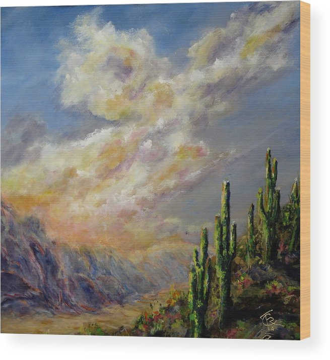 Larizona Andscape Wood Print featuring the painting Summer Sunrise by Thomas Restifo