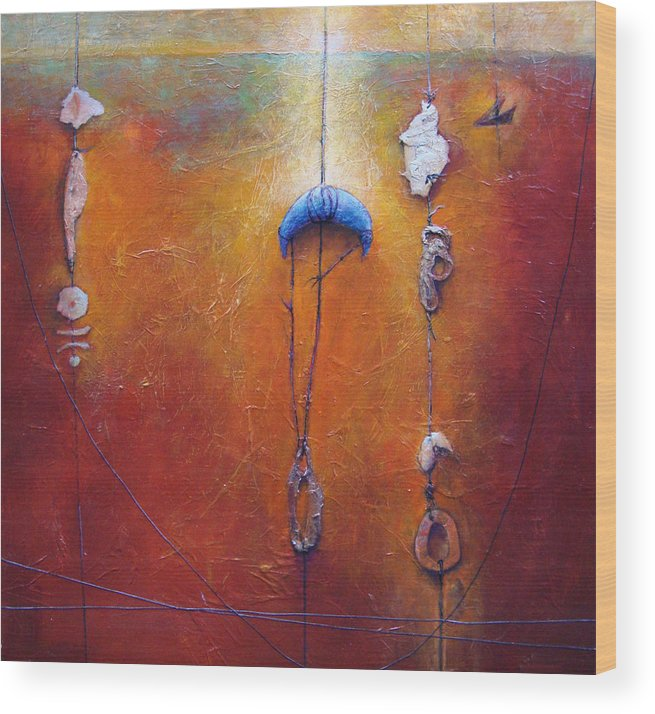 Abstract Wood Print featuring the painting The Sorting by Dale Witherow