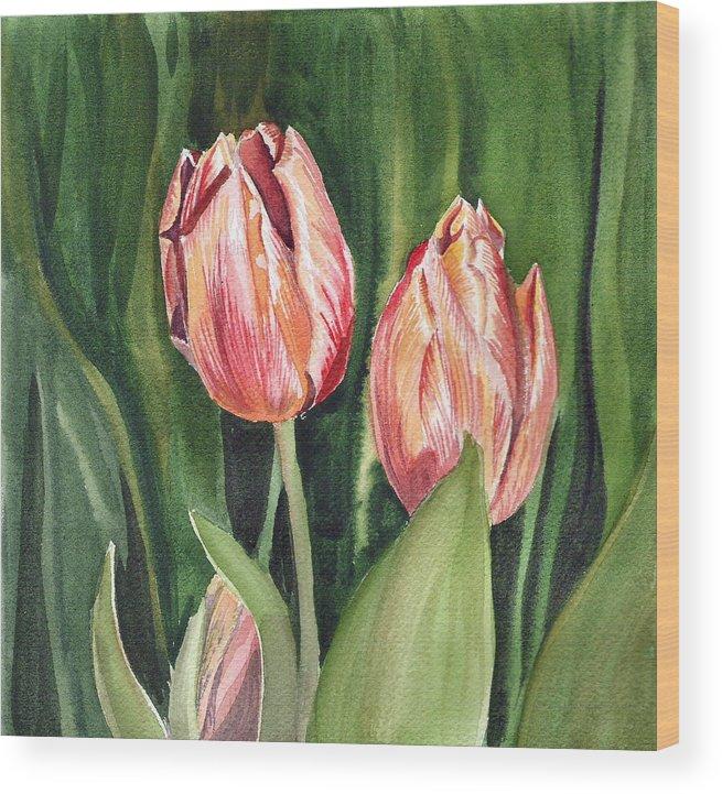Tulip Wood Print featuring the painting Tulips by Irina Sztukowski