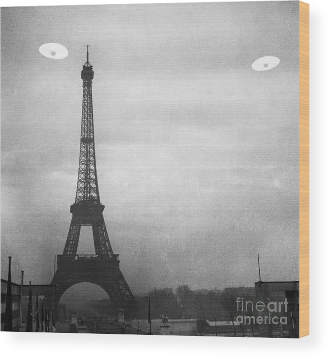 1950s Wood Print featuring the photograph Ufo: Paris by Granger
