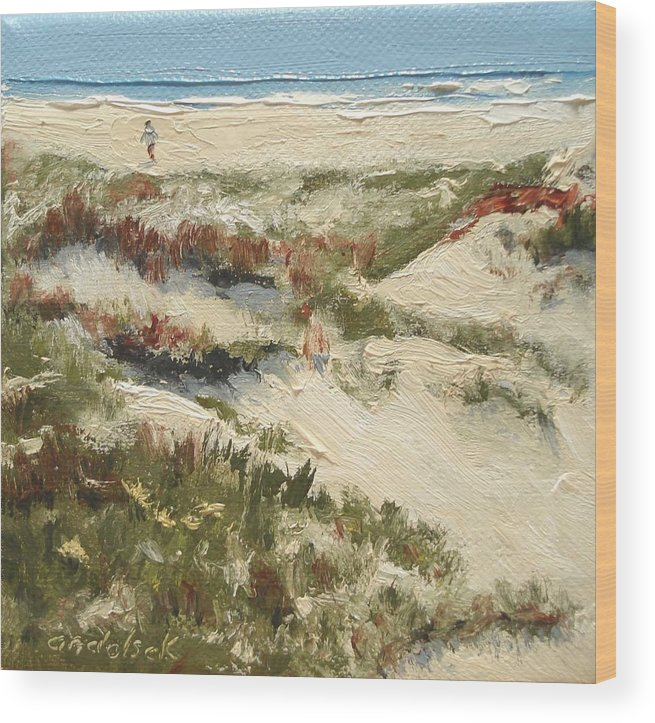 Water Wood Print featuring the painting Ventura Dunes II by Barbara Andolsek