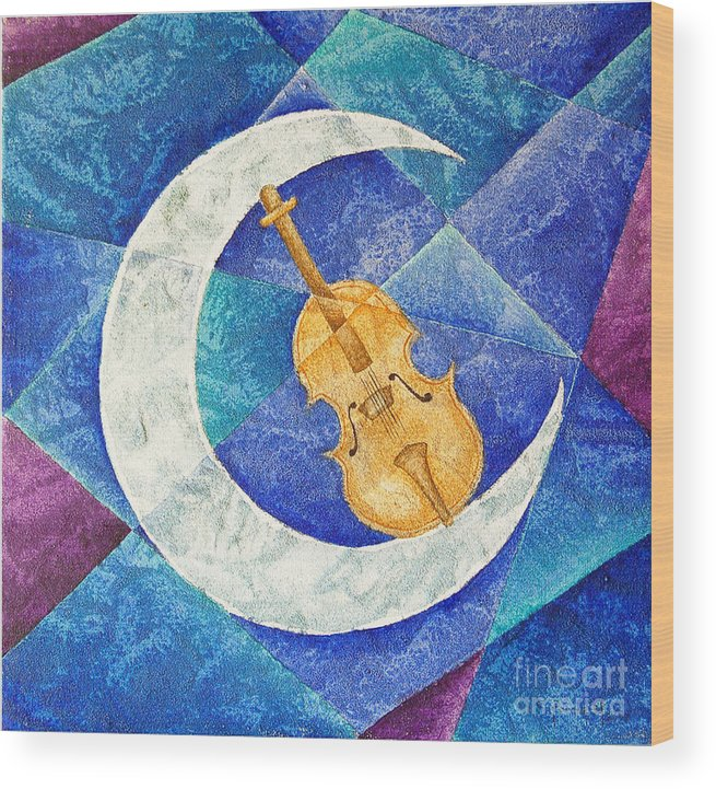Moon Wood Print featuring the painting Violin-moon by Son Of the Moon