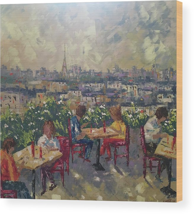 Frederic Payet Wood Print featuring the painting Vue De Paris by Frederic Payet