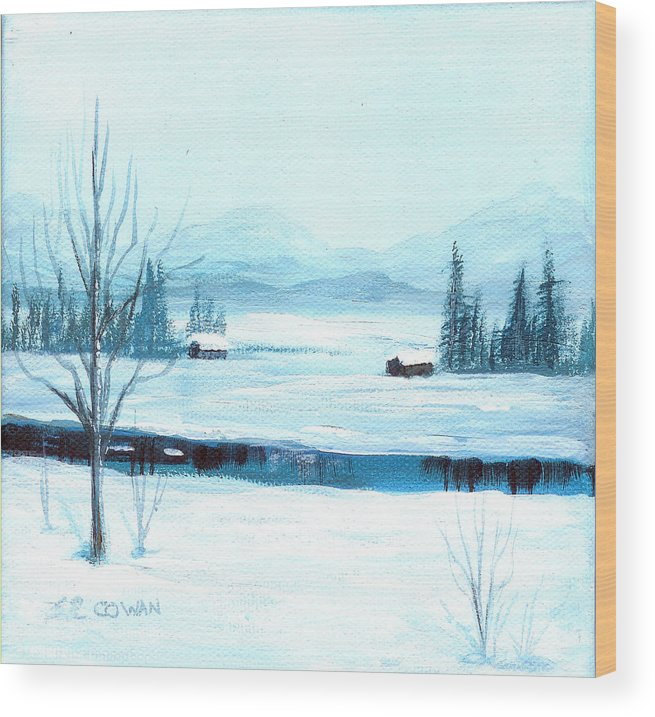 Winter Wood Print featuring the painting Winter Blues by SueEllen Cowan