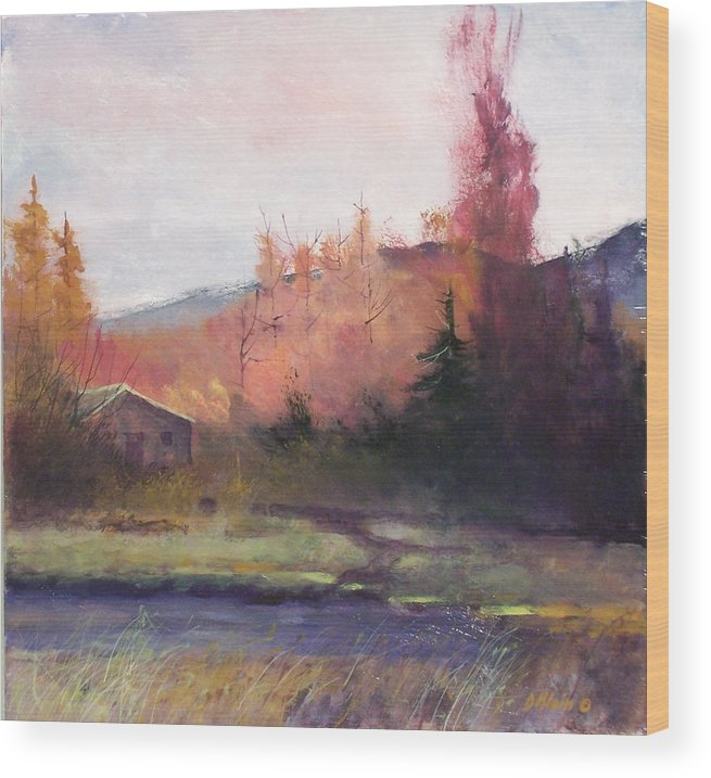 Landscape Wood Print featuring the painting Yaak Cabin by Dalas Klein