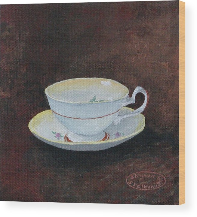 Cup And Saucer Teacup China Original Acrylic Wood Print featuring the painting Yellow Teacup by Sharon Steinhaus
