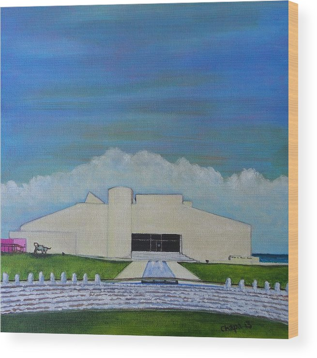 Wood Print featuring the painting Art Museum Of South Texas by Manny Chapa