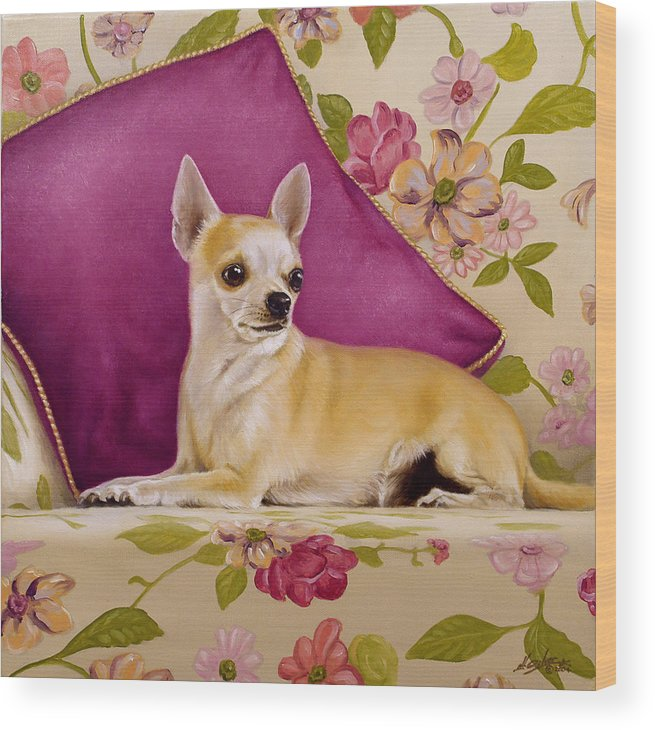 Chihuahua Wood Print featuring the painting Chihuahua II by John Silver
