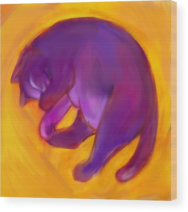 Colorful Cat Wood Print featuring the digital art Colorful Cat 5 by Anna Gora