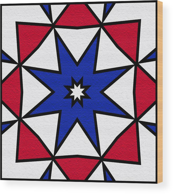 Red Wood Print featuring the digital art Good Old Red White And Blue 2 by Pat Follett