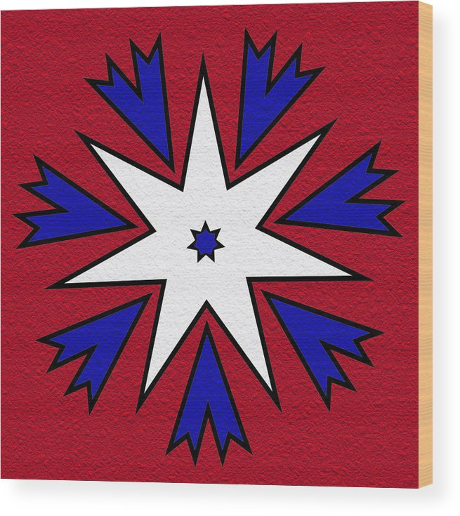 Red Wood Print featuring the digital art Good Old Red White And Blue by Pat Follett
