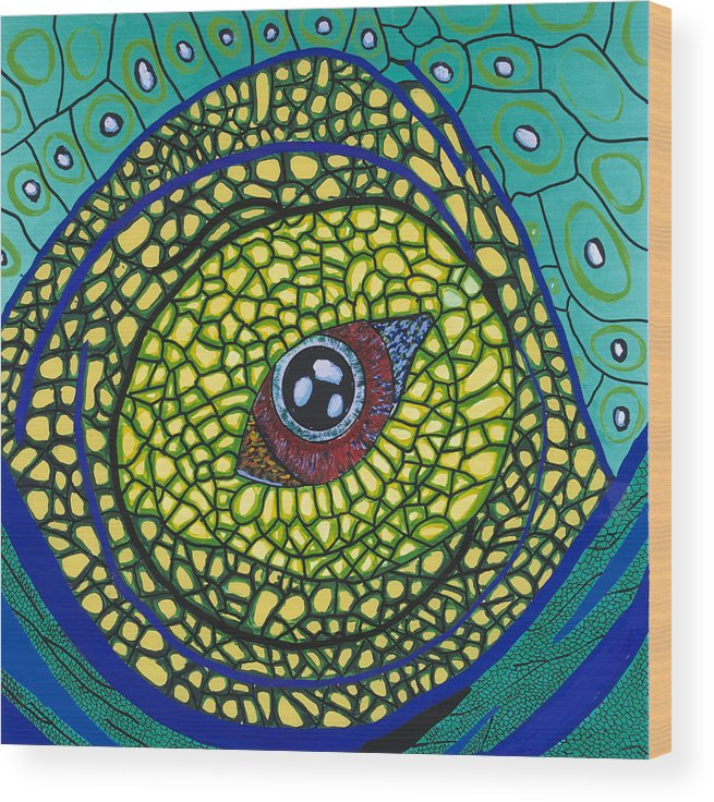 Eye Wood Print featuring the painting Green Eye by Patrick OLeary
