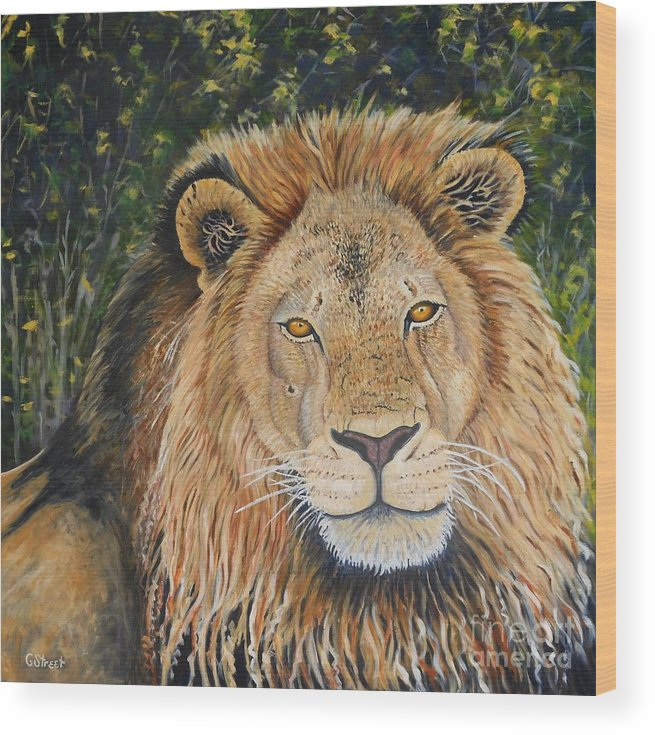 Wildlife Wood Print featuring the painting King Of The African Savannah by Caroline Street