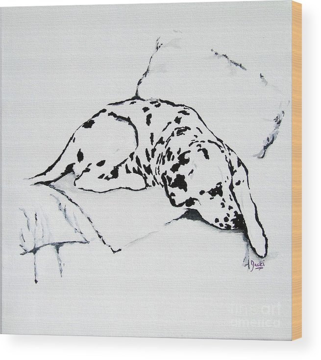 Dogs Wood Print featuring the painting Lazy Day by Jacki McGovern