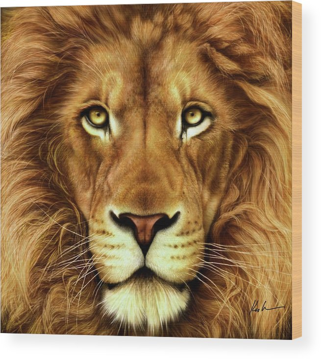 Lion Wood Print featuring the digital art Lion by Karen Kutoloski