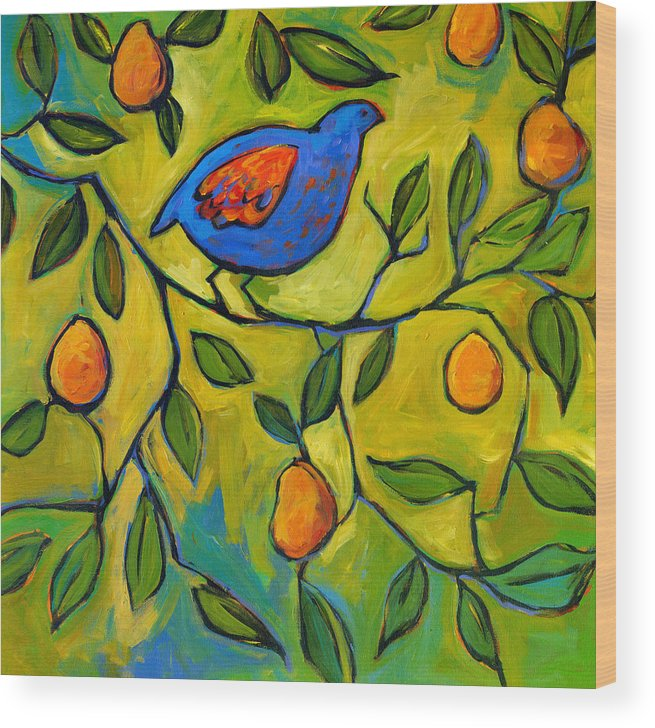 Etsy Done Wood Print featuring the painting Partridge In A Pear Tree by Patty Baker
