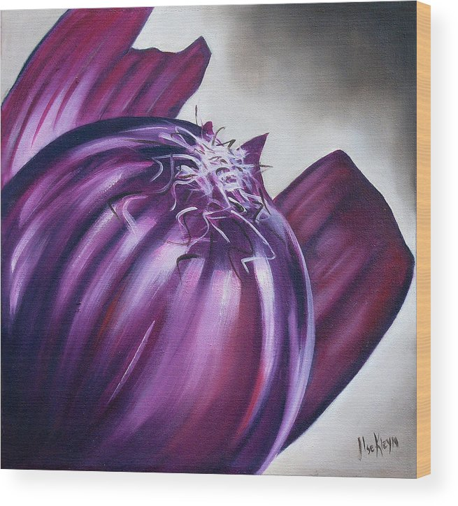 Onion Wood Print featuring the painting Red Onion by Ilse Kleyn