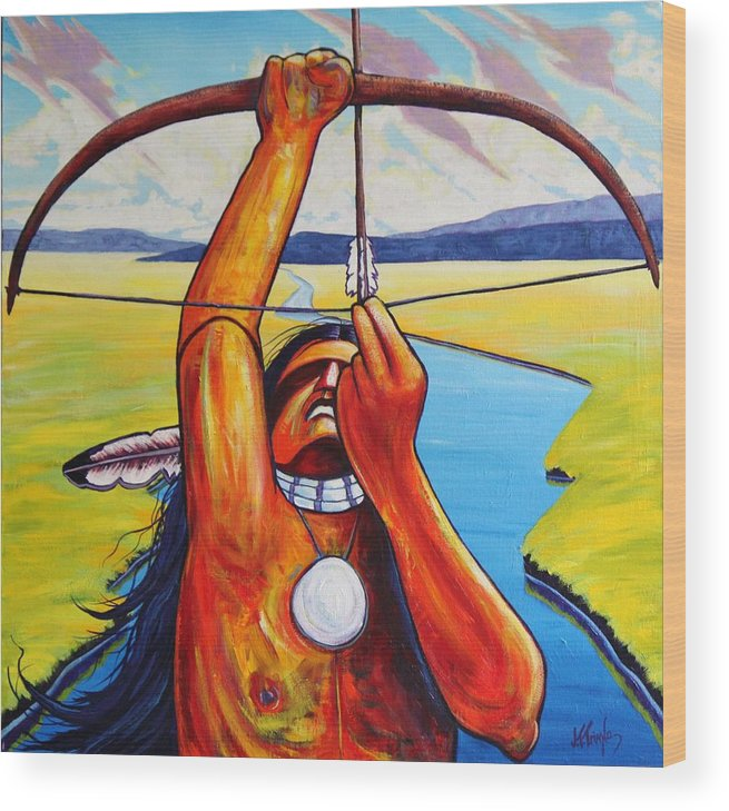Native American Wood Print featuring the painting Shamans Prayer by Joe Triano